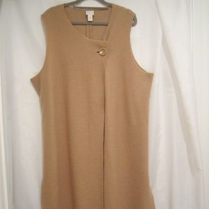 "Chico's 3 XL Boiled Wool Long Vest 50"" Bust Camel"